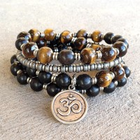 Strength and Prosperity, Ebony and Tigers Eye 54 Bead Wrap Mala Bracelet Or Necklace