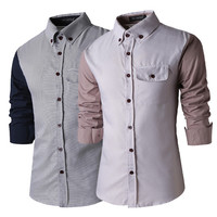 Men's Fashion Casual Patchwork Men Long Sleeve Shirt [6544488387]