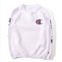Tide brand new champion Champion embroidery lovers installed plus velvet sweater thick cotton head White