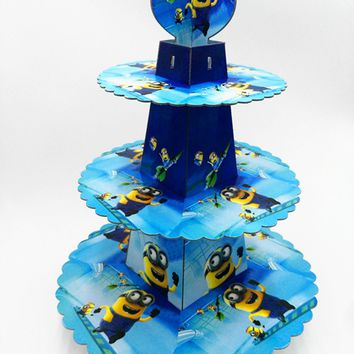 1pc/set Minions theme three layer paper cupcake stand for birthday wedding party decoration dessert stand party supplies