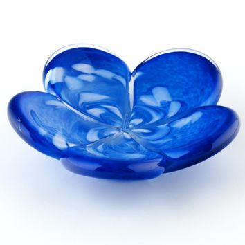 Blue Affection Flower - Hand Blown Glass Decorative Dish by Glass Eye Studio Containing Volcanic Ash from the 1980 Eruption of Mount St. Helens