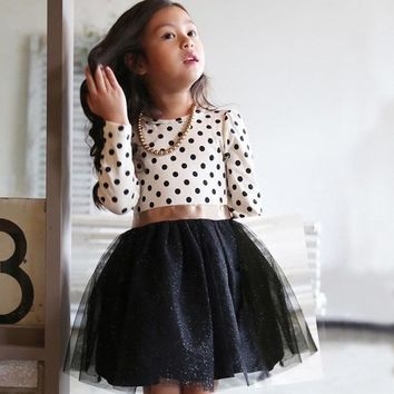 2016 Cotton Long Sleeve Casual Spring and Autumn Party Dress For Girls Polka Dots Children Kids Clothes Toddler Girl Clothing