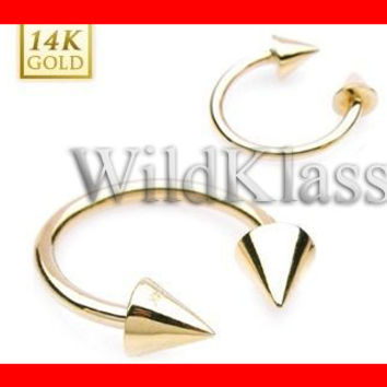 14k Gold Ring 16G Solid Gold Spike Horseshoe Circular Barbell Ring Septum Lip Earring Eyebrow Nose Nipple with Balls Cartilage Helis Tragus