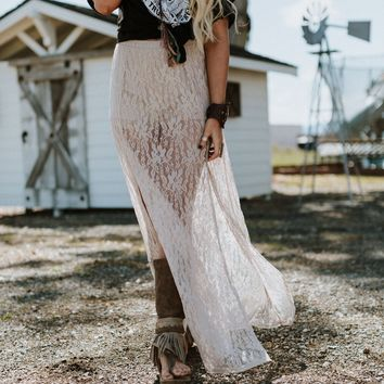 Move Over Lace Maxi Skirt - Natural