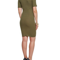 Bodycon Dress with Mock Neck and Short Sleeves