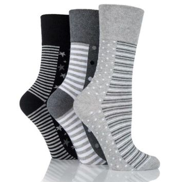Non Binding Socks for Women in Stars, Dots & Stripes