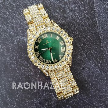 Raonhazae Hip Hop Iced Lab Diamond 14K De La Soul Gold Plated Green  Face Watch with Stones