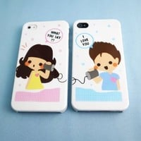 2 Pcs Couples Cases iPhone 4 With Love For You