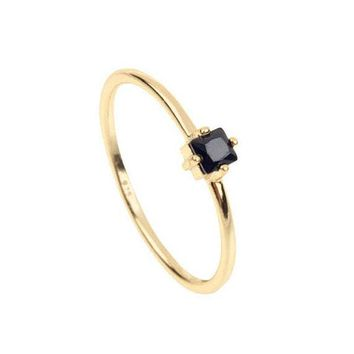 Black stone Engagement ring Minimalist Gold Stacking Dainty SINGLE stone simple jewelry 925 silver ring