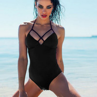 Halter Neck Backless One Piece Bikini  11137