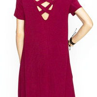 Cross Back Bamboo Swing Dress in Wine