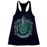 Slytherin Crest Relaxed Fit Black Tank |