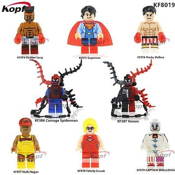 Single Sale Super Heroes Venom VS Carnage Spiderman Hulk Hogan Felicity Smoak Captain Spaulding Building Blocks Kids Toys KF8019