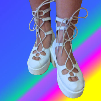 90s Kawaii White Lace Up Ballerina Chunky Thick Heel Platform Rave Club Cyber Kid Shoes Boots 5 1/2