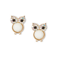 Crystal and Faceted Ivory Gem Owl Stud Earrings