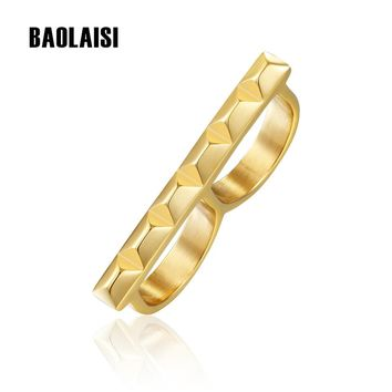 BAOLAISI 2017 New Rings For Women Geometrical Double Circles Ring Can Take Two Fingers Trendy Rock Fashion Jewelry Party Rings