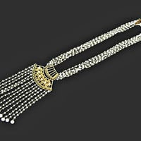 Egyptian Revival Tassel Necklace Multi Strand Milk Glass Signed Goldette
