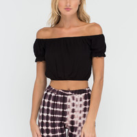 Frill Factor Off-The-Shoulder Crop Top