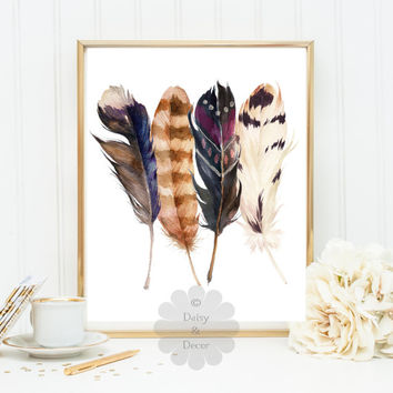 Feathers Art Print teen room nursery playroom decor printable home decor kids room children wall art feather INSTANT DOWNLOAD