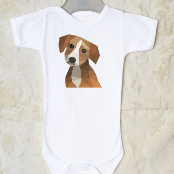 Dog Baby Clothes. Baby Bodysuit with Cute Puppy Print. Baby Girl or Baby Boy Clothes. Choose Your Color.