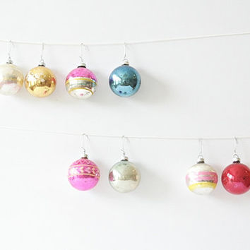 Vintage 1950's Glass Ball Ornaments - Set of Nine Assorted Shiny-Brite, Premier Glass Works Ornaments, Rare Hey Diddle Diddle, Holiday Home