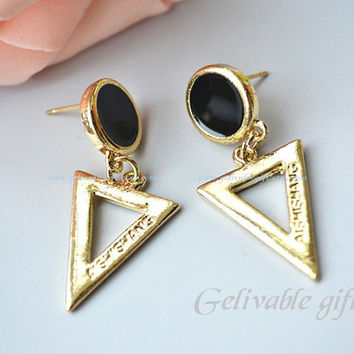 Golden Tone earrings , triangle earrings ETR01