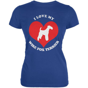 Valentines I Love My Wire Fox Terrier Royal Juniors Soft T-Shirt