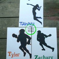 Sport Silhouette with players name: 11x14 inch canvas. Graduation Gift for him or her.