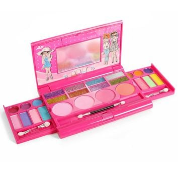 Kids, Toddlers Pretend Play Makeup Set Palette with Mirror, Eyeshadows, Lip gloss and Brushes
