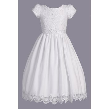 Embroidered Lace & Tulle Girls Short Sleeve Communion Dress 6-12