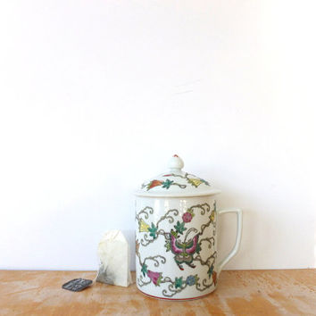 Tea Cup with Lid Ceramic Mug Floral Mug Butterfly Design Asian Art Hand Painted Tea cup 1970s Kitchen Single Serve Tea Pot