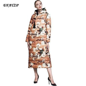 Miss Fashion Winter XXL Down Parka 2016 New Chinese Style Jackets Vintage Cheongsam Plum Bamboo Print Outerwear Slim Design Long