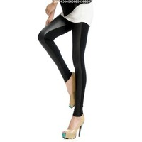 LOCOMO Women Half Faux Leather Front Lycra Back Footless Legging Tregging Tight Skinny Slim FFT040 One Size Black:Amazon:Clothing