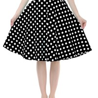 BI.TENCON Women Vintage Skirt Polka Dot Smock Waist Rockabilly Swing Casual Party Skirts