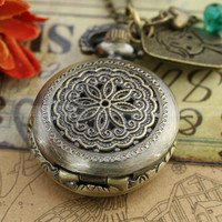 Neckalce-pocket watch necklace with antique bronze girl charm and glass crystal charm bead