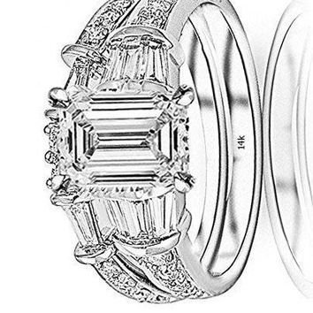 .1.65 Ctw 14K White Gold Baguette Round GIA Certified Diamond Engagement Ring Wedding Bridal Band Set Emerald Shape (0.9 Ct K Color VS1 Clarity Center Stone)
