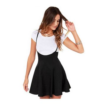 New 2017 Skirts for Girls Black Suspender Skater Skirt With Shoulder Straps Pleated Hem faldas Saia etek skirt With Braces