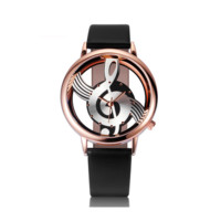 Hollow Musical Note Style leather WristWatch fashion ladies Gfit Casual watch female Relogio Feminino