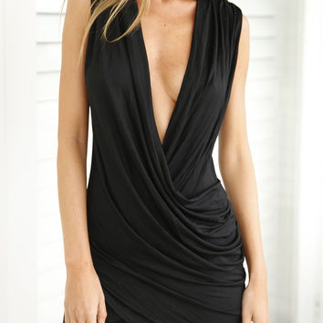 Black Ruched Sleeveless V-Neckline Wrap Bodycon Dress