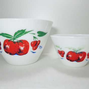 Fire King Mixing Bowls Apple and Cherry 9 1/2 and 6 1/2