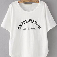 US ParaTroops Graphic Print White Shirt