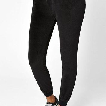 LMFON LA Hearts Velour Ribbed Pants