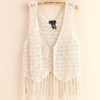 Fashion lace tessel vest