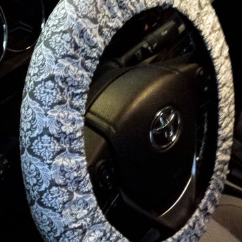 Steering Wheel Cover Gray Damask-Girly Car Decor-Cute Car Accessory-Damask Wheel Cover
