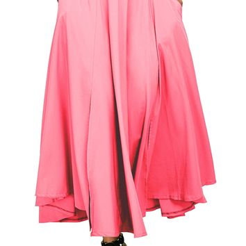 Chicloth Pink Retro High Waist Pleated Belted Maxi Skirt