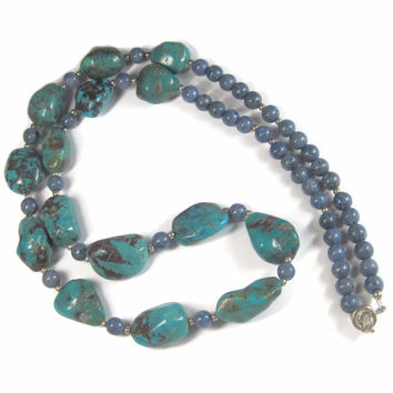 Vintage Denim Lapis Turquoise Bead Necklace 23 Inches