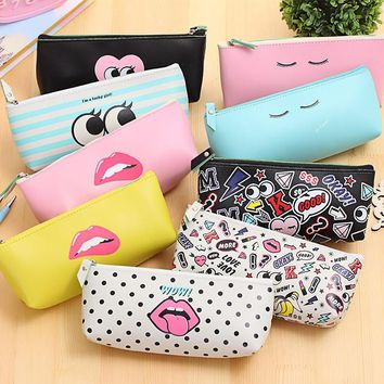 Newest Modern Girls Pu Waterproof Pencil Case Pencil bag Cosmetic bag Stationery Storage Bag School Office  Escolar Papelaria