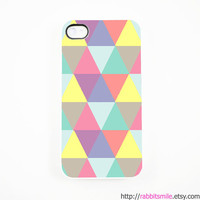 iPhone 5 Case, iPhone 4 case, iPhone 4s Cover , Hard Plastic iphone 5 Cover, cases -- Pastel Color Triangle Geometric