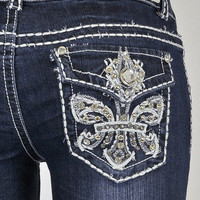 NEW Miss Chic Boot Cut Blue Jeans Rhinestone Vintage Fleur De Lis Stitching Stud
