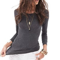 FOREVER 21 Heathered Long-Sleeve Top Oatmeal